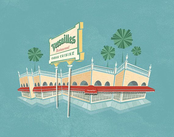 Versailles Cuban Restaurant - Miami - Architecture - Illustration Print - 8x10 11x14 13x19 16x20