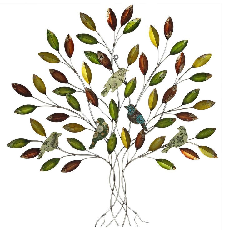 Charmant Earth De Fleur Homewares   Lacquered Leaf With Birds Metal Tree Wall Decor