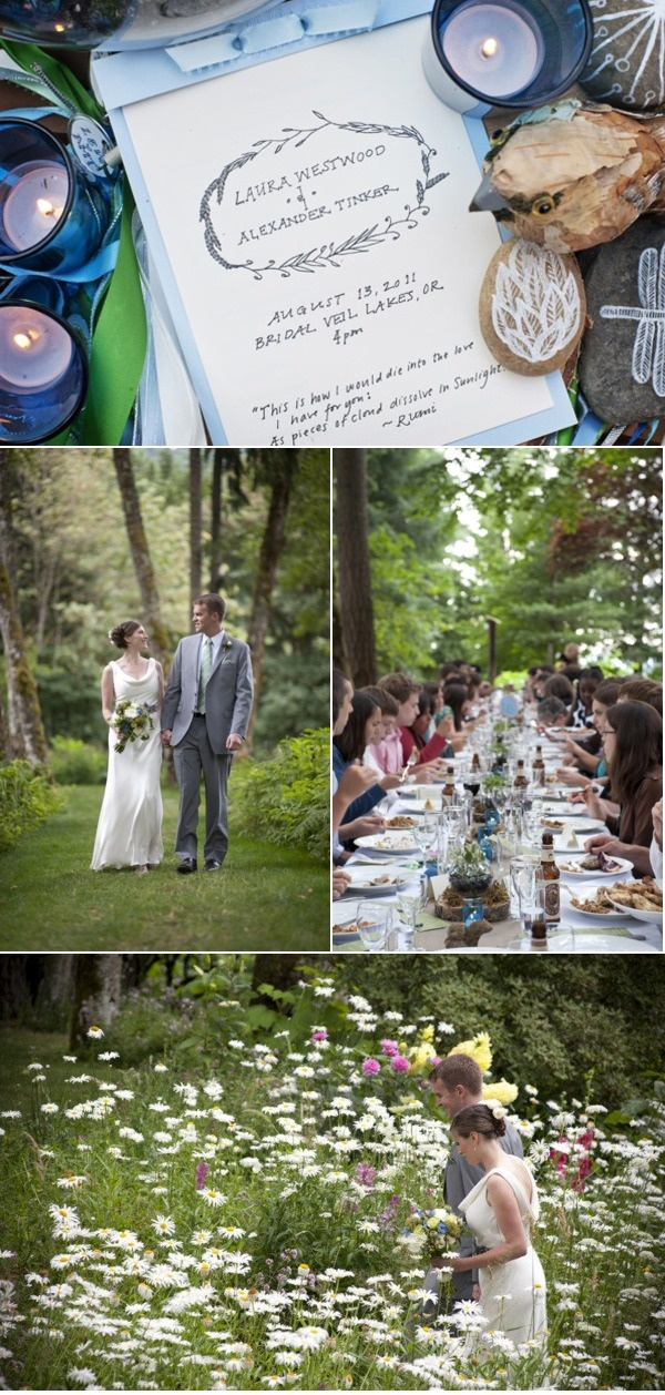 Outdoor rustic #wedding at Bridal Veil Lakes a private park venue in #Oregon