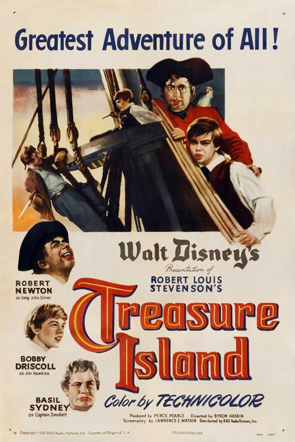Today 7-29 in 1950 - RKO pictures released the Walt Disney adaptation of the Robert Louis Stevenson literary classic, Treasure Island. Bobby Driscoll was the child star who played Jim Hawkins to the delight of many a young movie goers.