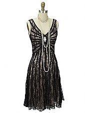 Black Lace Champagne Satin Gatsby Dress