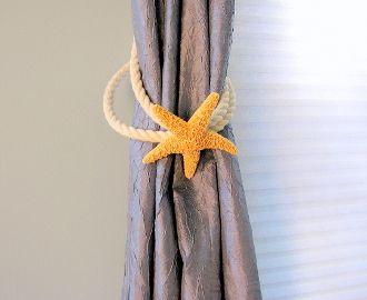 Beach decor coastal brown starfish curtain tie back.  Nautical starfish curtain tieback in either white finger starfish or brown sugar starfish, $35. BUY HERE: http://shop.beachgrasscottage.com/Beach-Decor-Starfish-Curtain-Tie-Back-Nautical-Tieback-47.htm