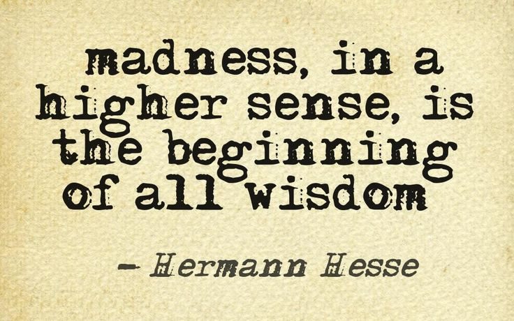 """""""Then I have a lot of budding wisdom if I ever get past the insanity."""""""