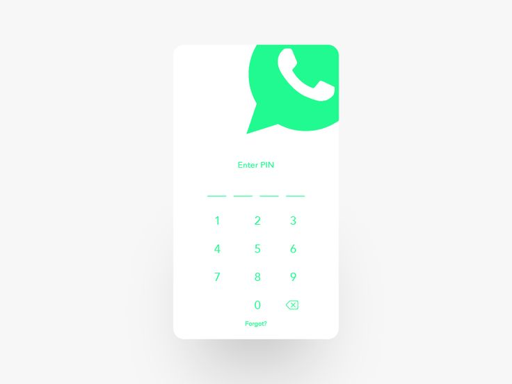 Whatsapp Redesign - App Design - Message app, Micro Interactions, Entering PIN, Num pad, Numbers, Clean, Green, White
