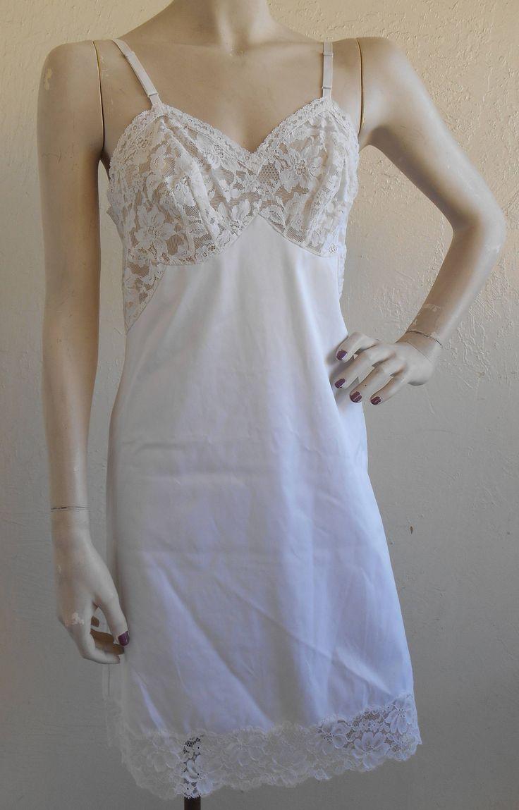 Vintage Full Slip Vanity White Taffeta Lace Size 32 S Slip Dress Bridal Wedding by desertgraceboutique on Etsy