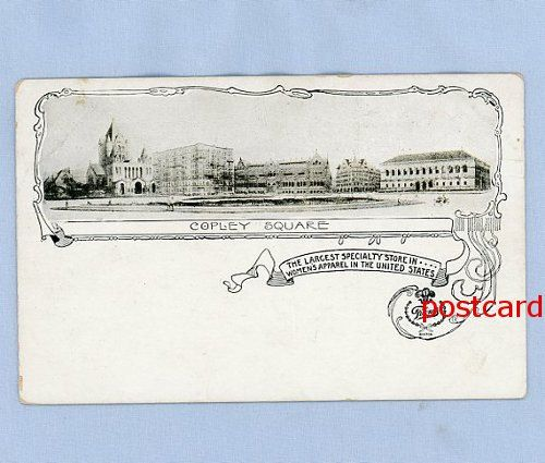 Boston 1895 Postcard Copley Square and Filenes Famous Store