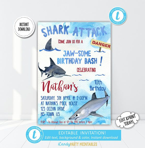 Shark Birthday Invitation Boy Boys Jaws Invite You Will Love This Printable And Instant Download Featuring Scary Clip Art For A