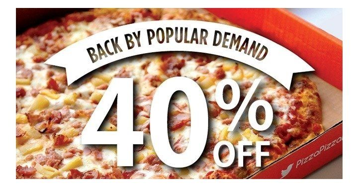 40% Off X-Large Pizzas This Weekend @ Pizza Pizza http://www.lavahotdeals.com/ca/cheap/40-large-pizzas-weekend-pizza-pizza/184744?utm_source=pinterest&utm_medium=rss&utm_campaign=at_lavahotdeals