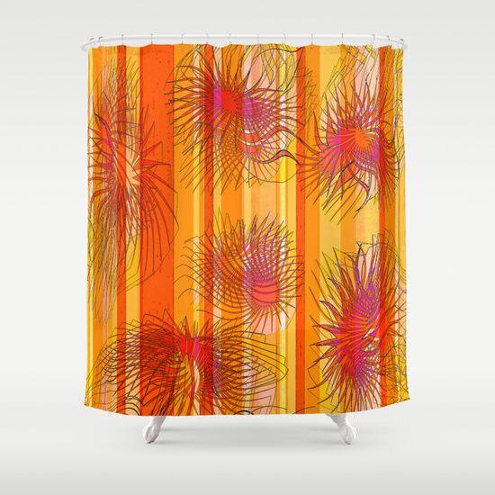 Orange stripes with bacillus Shower Curtain