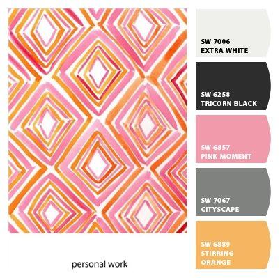 pink, orange, grey, black and white