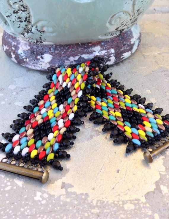 Peyote Stitch Indian Summer Cuff ~ Colorful Statement Piece ~ Beadweaving Beaded Bracelet ~ Tribal Country Fashion by Country Chic Charms