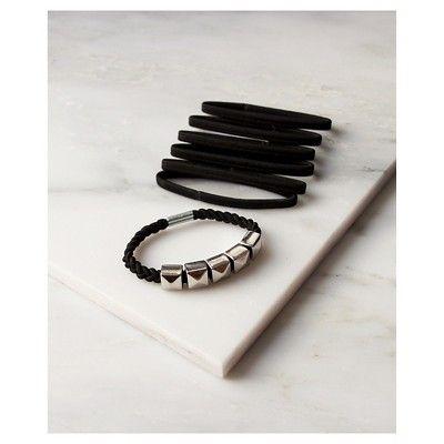 La-ta-da Silver Bead & Black Hair Ties 7 Count, Women's