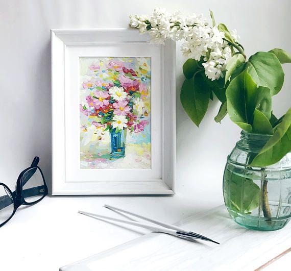 Mini Oil Painting Original framed home bedside table decor