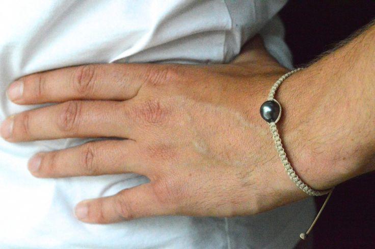 bracelet pour homme à faire soi même avec noeud coulissant et perle de culture de tahiti