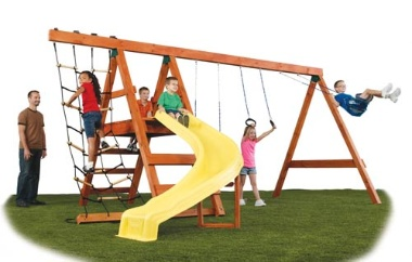 Pioneer DIY Play Set Hardware Kit, Swing-n-Slide, Wooden Swing Set Kit http://www.woodenplayscapes.com/product/SNSNE-4433
