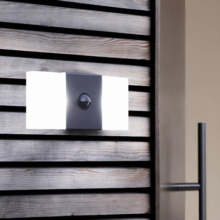 NOXLITE - Applique d'extérieur LED Chaud 2 Lumières avec Détecteur Gris L27cm Osram