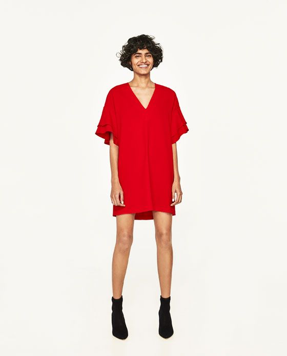 Robe cape rouge zara