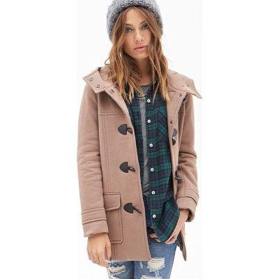 Dames Hooded Toggle Coat van FOREVER21