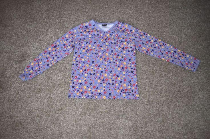 Patagonia Girls Purple Floral Organic Cotton Long Sleeve Shirt V Neck Sz Large L #Patagonia #Everyday