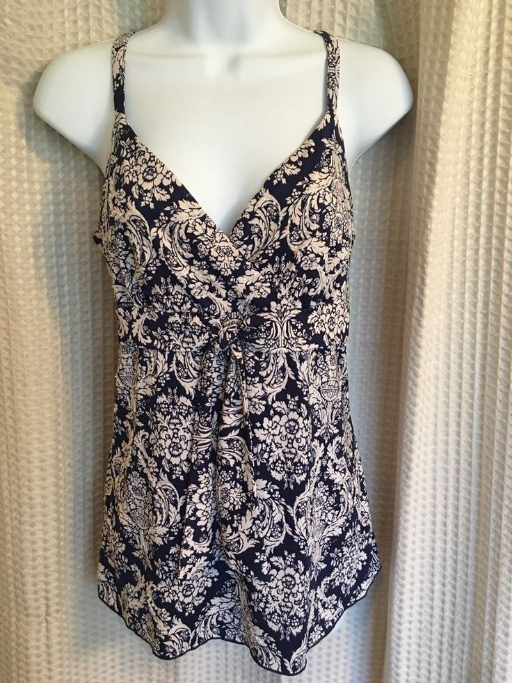 INC International Concepts Petite Navy Blue And White Cami Top  | eBay