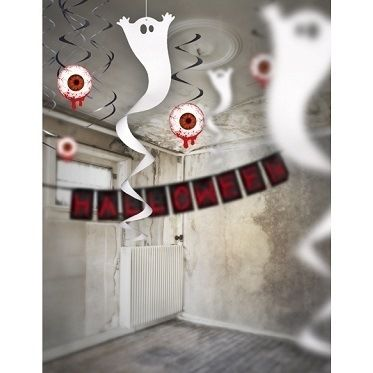 Creepy atmosphere guaranteed! This great room decoration in the form of a large white horror shape the ghost or Halloween party a success. Ceiling decoration in the form of a mind with spiral end....