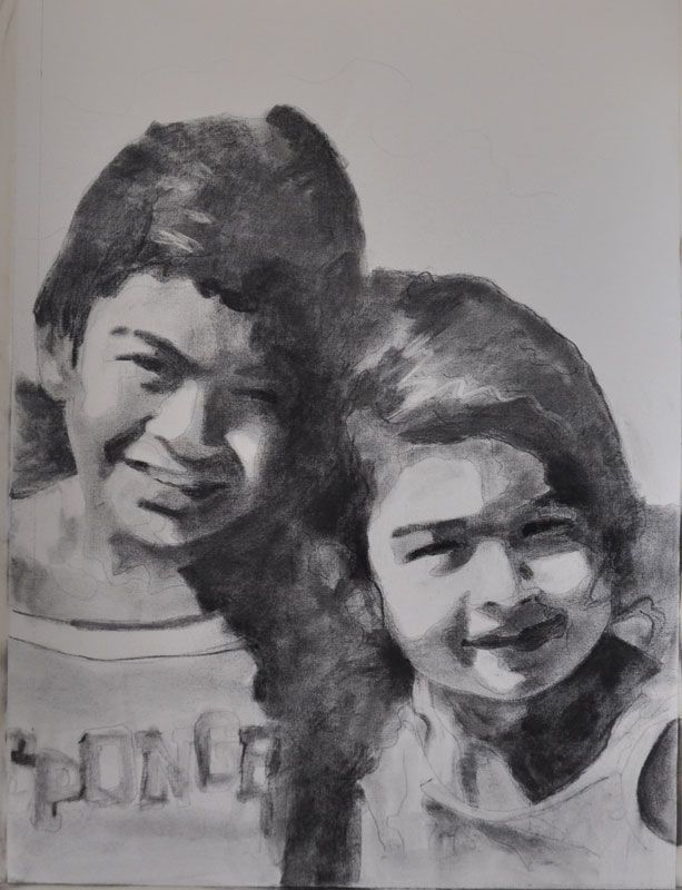 Charcoal on Paper Study for portrait in oil