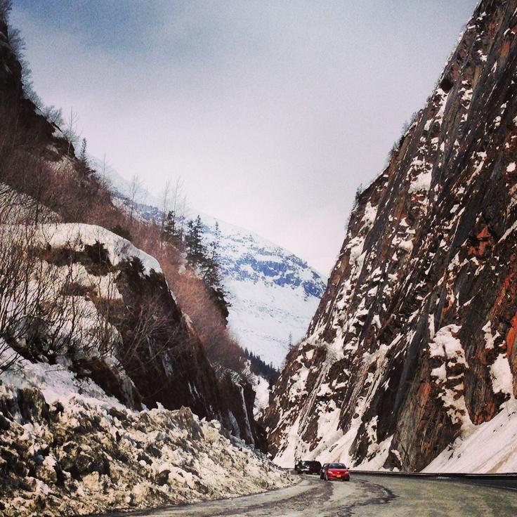 Highway to Valdez Alaska. Bridal Veil Falls. Valdez