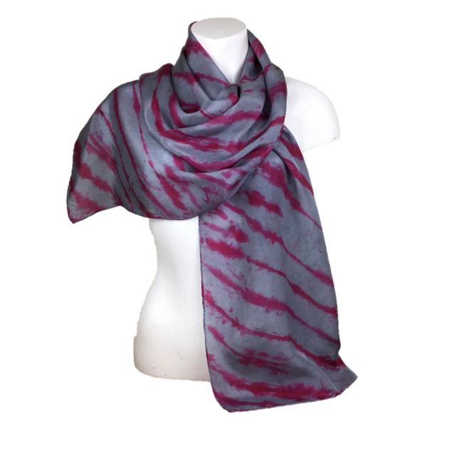 Grey and red striped, hand dyed silk, crepe de chine scarf £20.00