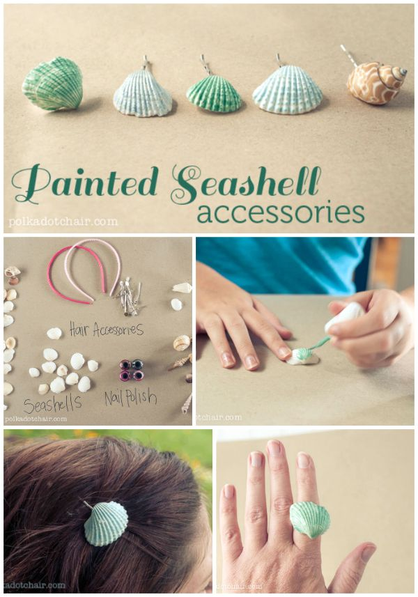 A fun summer craft to do with kids, paint seashells with nail polish and make hair accessories. Ideas for seashell crafts, crafts to do with kids