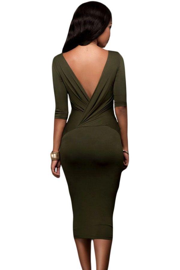 Sukienka khaki ołówkowa dekolt midi w cenie 119,99 zł