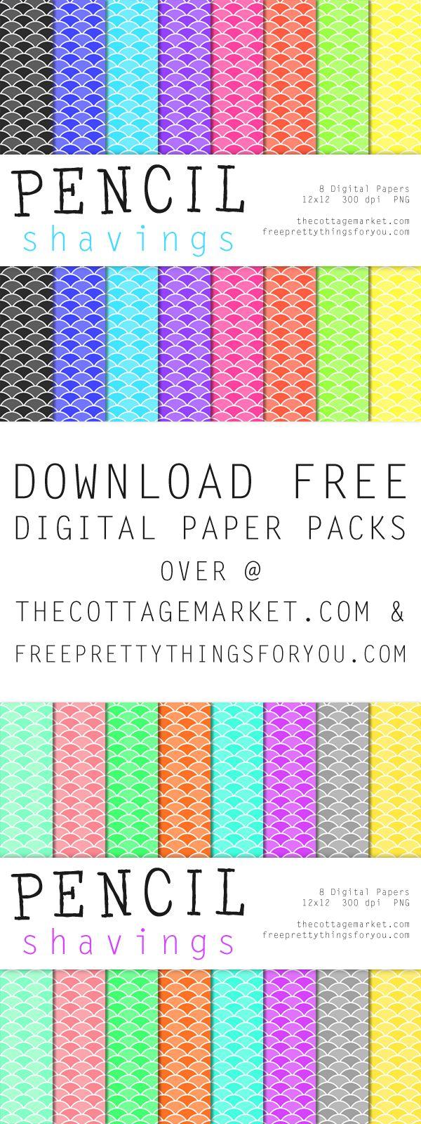 Free Pencil Shaving Digital Scrapbooking Paper Part 1 - The Cottage Market