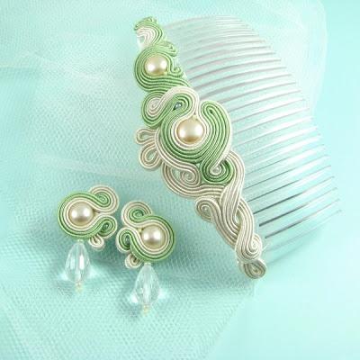 Autorska biżuteria sutasz PiLLow Design...sutasz, sutaszowa, biżuteria ślubna, soutache, ślubne, kolczyki sutasz, do ślubu, komplet