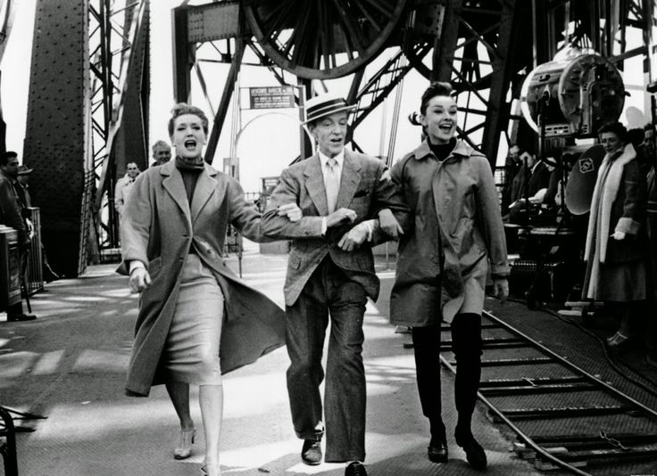"Making Film ""Funny Face"" in 1956-Kay Thompson (who plays magazine editor Maggie Prescott), Fred Astaire and Audrey Hepburn dancing beneath THE EIFFEL TOWER."