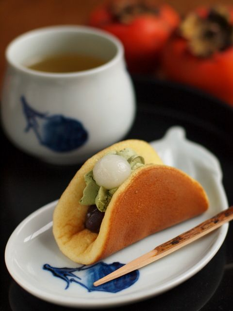 Food imitating other food is fun! Here's a piece of Wagashi pretending to be a taco.