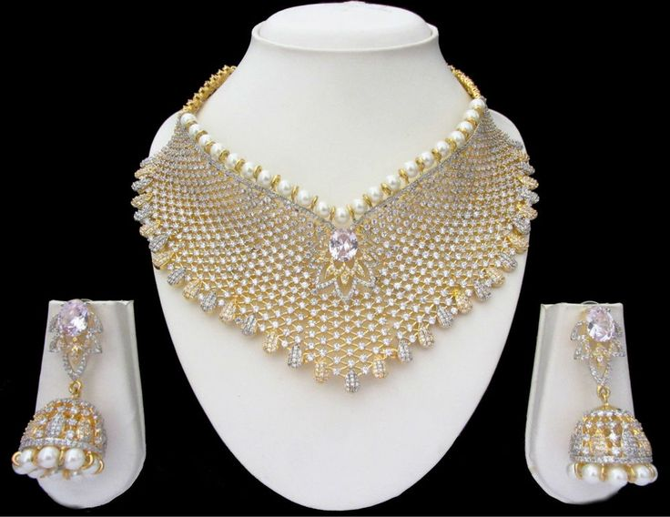 Indian Bridal CZ AD Gold & Silver Bollywood Bridal Necklace Set Swam Jewelry 160