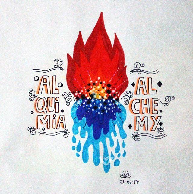 Alquimia. Alchemy. #dibujo #draw #alquimia #alchemy #fuego #fire #agua #water #magic #magia #sketch #instaart