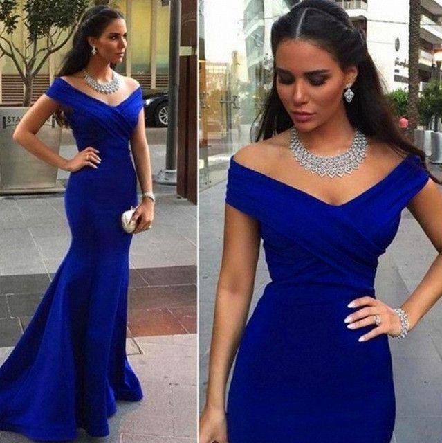 Off Shoulder Royal Blue Mermaid Simple Long Prom Dress, WG556
