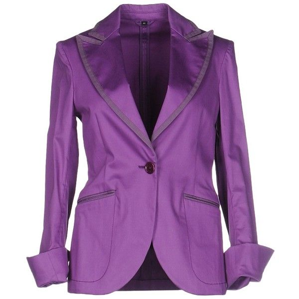 Fay Blazer (2.095 DKK) ❤ liked on Polyvore featuring outerwear, jackets, blazers, purple, purple blazer jacket, multi pocket jacket, purple blazer, lapel jacket and long sleeve blazer