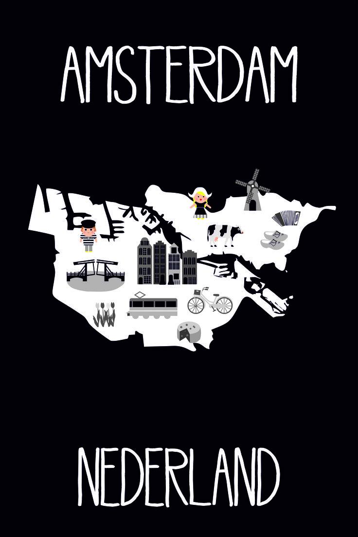 Amsterdam poster amsterdam holland nederland Netherlands kidsmap