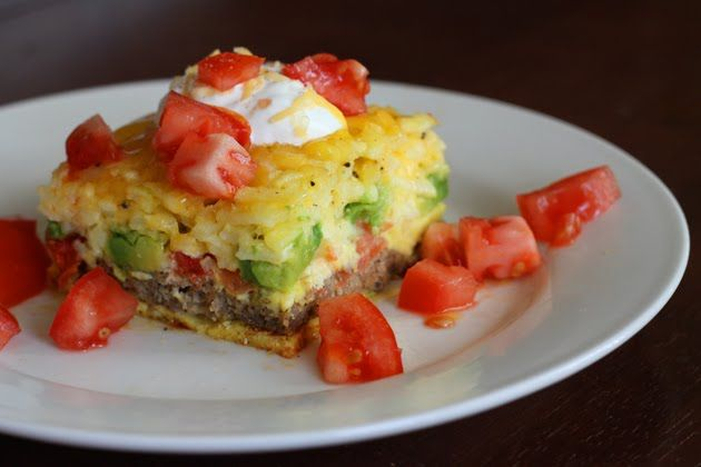 California Breakfast Casserole: Hashbrown, Casseroles Recipes, Breakfast Ideas, Breakfast Casseroles, California Breakfast, Eggs, Hash Brown, Tomatoes, Breakfast Sausages