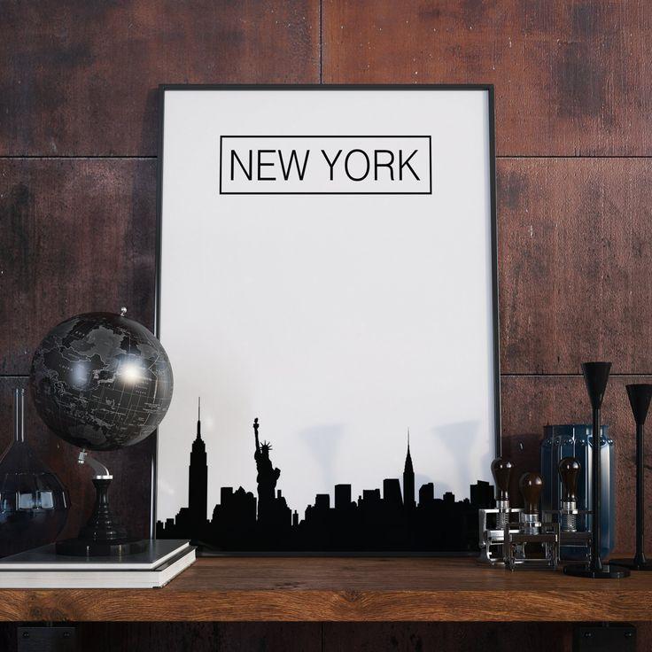 New York City, New York, Skyline, City Skyline, New York Poster, Wanddekor, New York Kunstdruck, Artprint, Druckbare Kunst, Digital Download von FineArtHunter auf Etsy
