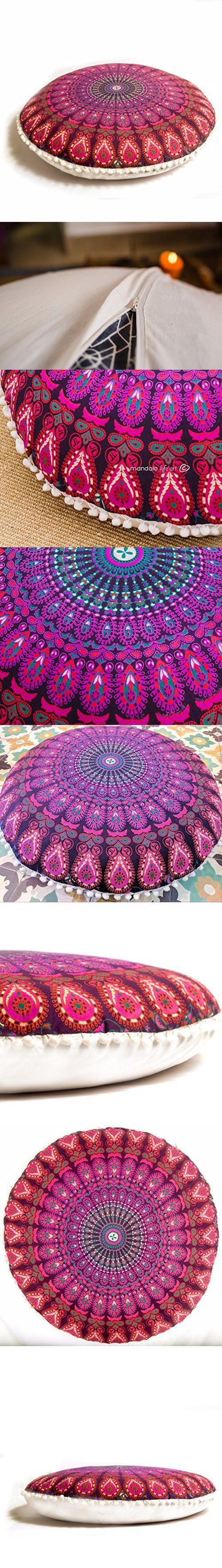 Bohemian Decor Floor Cushion Cover - 30 Round Floor Pillow Pouf Cover - Colorful Purple 100% Hand Printed Organic Cotton by Mandala Life ART