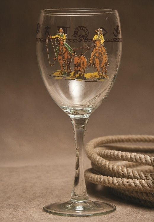 Team Roper Western 15.5 oz Wine Goblet Glass Set of 8 (RR2X5658-X2) ...