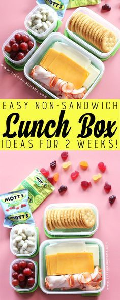 Crackers Meat & Cheese lunch box idea for kids! Just one of 2 weeks worth of non-sandwich school lunch ideas that are fun, healthy, and easy to make! Grab your lunch bag or bento box and get started!