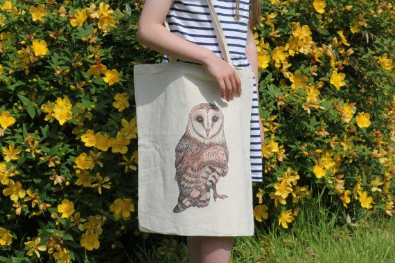 Handmade Illustrated tote bag with Barn Owl design  https://www.etsy.com/uk/listing/193895967/barn-owl-artwork-on-cotton-tote-bag?ref=shop_home_active_10