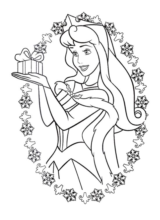 Aurora Sleeping Beauty Free Christmas Disney Princesses Coloring Pages