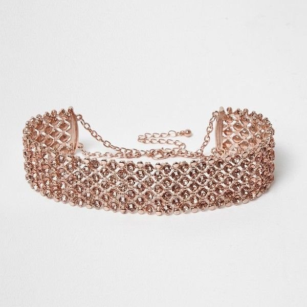 River Island Rose gold tone sparkly choker ($18) ❤ liked on Polyvore featuring jewelry, necklaces, rose gold tone necklace, thick necklace, chain necklace, choker necklace and choker jewelry