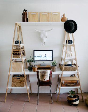 Inspiração do dia: escritório com mesa dois em um