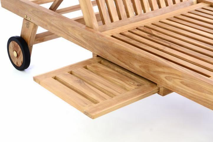 DIVERO Sonnenliege Gartenliege Relaxliege Liege Holzliege aus Teakholz Holz