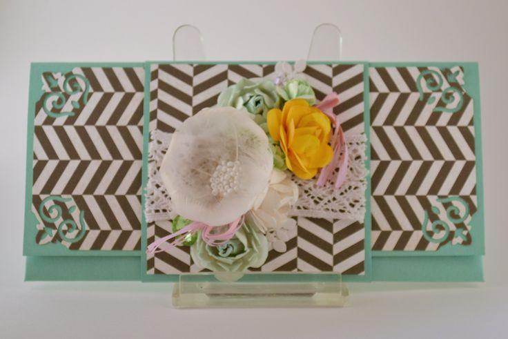 Envelope, flowers, feathers, lace, chevron, yellow